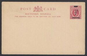 Southern Nigeria KedVII 1/2d on 1d postal card unused