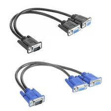 1 PC to 2 Way Monitor Male to Female Adapter Wire VGA Splitter Cable Stable