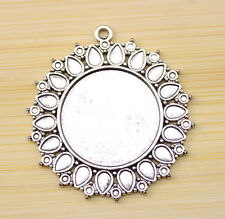 2 pcs 47 x43 mm-25 mm  Antique Silver Cameo Cabochon Base Setting Charm