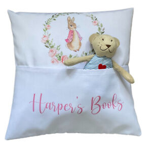 """Personalised Flopsy Bunny ~ 16"""" white cushion cover Book Pocket nursery gift"""