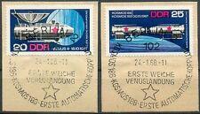 DDR Mi.Nr. 1341 - 1342 gestempelt, Briefstücke, Kosmos, Venus, Vollstempel
