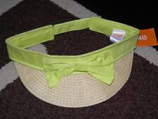 """GYMBOREE """"Bright and Beachy"""" Lime Bow Visor Size M(7-8)~ NEW!"""