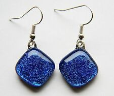 Hook Cabochon Silver Plated Costume Earrings