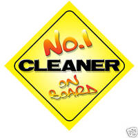 No.1 Cleaner On Board Novelty Car Sign New Job Gift