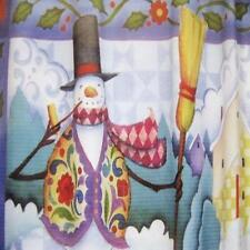 WISH UPON A SNOWMAN  Christmas Fabric Shower Curtain Jim Shore Birdhouses Wint