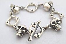 "Taxco, Mexican 925 Sterling Silver Skull Bracelet,  68 g,  7.5"""