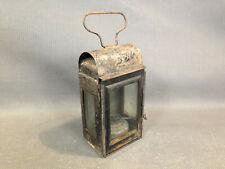 Ancienne petite lanterne métal et vitres à suspendre pétrole bougie déco chalet
