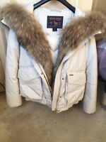 Hardly Worn. Woolrich Artic Parka Cream Jacket Size 10/12. Ex Cond. Cost £840