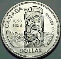 1958 CANADA SILVER DEATH DOLLAR TOTEM UNC GEM CHOICE BU BLAST WHITE (DR)