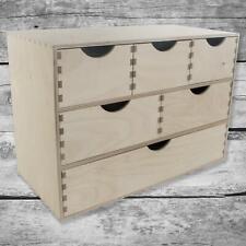 Mini Wooden Chest 6 Drawers Storage Cupboard Trinket Box Unpainted Birchwood
