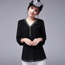 Chiffon V Neck Classic Blouses for Women