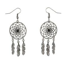 Lux Accessories Dreamcatcher Leaf Tribal Black Stone Dangle Earrings