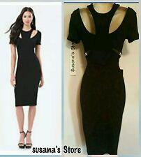 NWT BEBE IDINA DOUBLE KNIT DRESS SIZE S Showstopping SEXY BLACK dress!!
