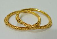 Indian Women 22K Gold Tone Bangles Set of 2 Bala Kada Wedding Festival Jewelry