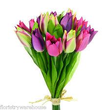 Seda Artificial Tulipa Ramillete morado, rosa, Verde 15 TALLOS S Tulipanes Ramo