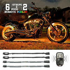 Remote 2 Million Color 6 Pod 2 Strip Motorcycle LED Underbody Accent Neon Lights
