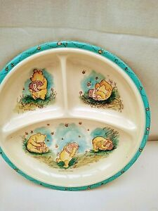 Vintage Winnie the Poo Melamine Sectioned Feeding Dish / Plate Good Condition