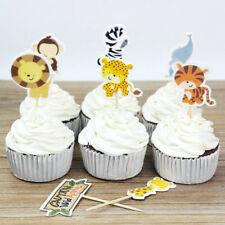 24Pcs Cartoon Animal Cake Topper Jungle Safari Kid Birthday Party Cake Decor