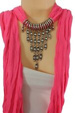 Women Fashion Pink Necklace Soft Scarf Silver Rhinestones Fringes Metal Pendant