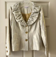 3 Sisters Womens M Gold Metallic V Neck Long Sleeve Puffer Collar Coat Blazer