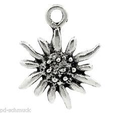 PD: 30 Edelweiß Charms Anhänger für Bettelarmband Kette Perlen Beads 17x13mm