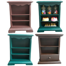 Mini Cabinet Vintage Doll House Wood Furniture Display Small Figurine Home Decor