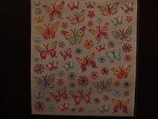 Design Sticker - Schmetterlinge pastell mit Silbereffekt