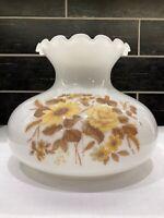 """Vtg Milk Glass Ruffled GWTW Hurricane Oil Lamp Shade Floral Roses 6 ¾"""" Fitter OD"""