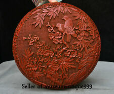 "10.4"" Qianlong Marked Old Red lacquerware Dynasty Flower Bird jewelry Box Case"