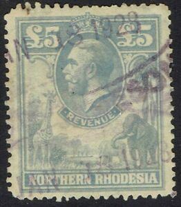NORTHERN RHODESIA 1925 KGV GIRAFFE AND ELEPHANTS £5 REVENUE USED