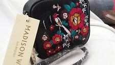 MADISON WEST FLOWER AND BIRD EMBROIDERY WRISTLET CROSS BODY HANDBAG LEATHER BLK