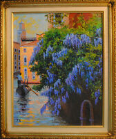 "Wisteria in Venice. Original framed oil on canvas 16""x20"" traditional painting"