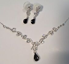 Rhinestone Bling  Tuxiedo Black Earrings And Necklace Set Sophisticated Duo