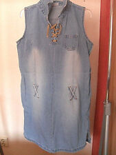 Damenkleid, Jeanskleid, ärmellos und mit Gürtel zu tragen in Gr.L, sehr selten !