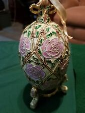 Turn of the century Victorian Enamelling Rose Egg Ornament And Stand, Alsan Comp