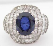 7.95 TCW Natural Blue Sapphire w/ Baguettes Accents Diamond Ring Size 7 18k Gold