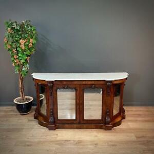 Attractive Antique Victorian Carved Burr Walnut Marble Top Sideboard Credenza