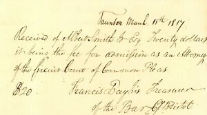 1817 Early Am Doc> $20 DOLLARS FOR ADMISSION AS ATTORNEY CIRCUIT COURT OF PLEAS