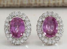 Fashion Women 925 Silver Pink Kunzite Ear Stud Earring Wedding Bridal Jewelry