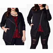 MBLM by Tess Holiday Trendy Plus Sz 2X Moto Hoodie Jacket Black $139
