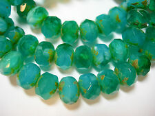 25 8x6mm Emerald Isles Opal Mix Czech Glass Picasso Rondelle beads