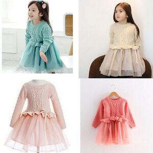 Gorgeous Girls Longsleeve Knitted Top Jumper Tutu Pullover Dress
