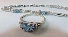 WHITE Gold Bracelet/Ring Set- Blue Topaz. 10k Solid SALE-SAVE #380