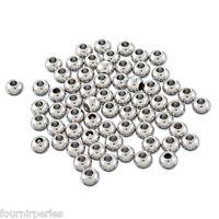 50 Perles Acier Inoxydable Rond Pr Bijoux Création DIY 4x3mm