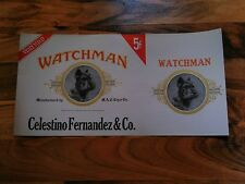 old vintage or antique cigar label watchman celestino Fernandez MAC cigar co box