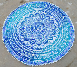 "Indian Hippie Mandala 46"" Round Beach Rug Pom Pom Tapestry Decor Yoga Mat Art"