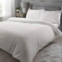 Rapport Sherpa Teddy Bear Fleece Warm Soft Snuggle Duvet Cover Bedding Set Cream