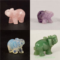 1X Hand Carved Natural Jade Stone Crystal Elephant Statue Home Table Decor 1.5''