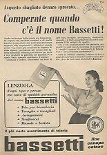 W1530 Biancheria BASSETTI - Pubblicità del 1956 - Vintage advertising