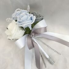 FLOWERGIRLS POSY, BABY BLUE, WHITE & GREY ROSES,  ARTIFICIAL WEDDING FLOWERS